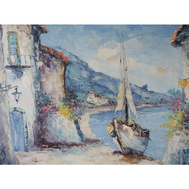 Original palette knife oil painting by Giovanni Camprio (1915-1999) who was known for his Mediterranean sea scapes. This...