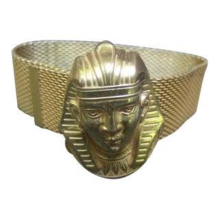 Miriam Haskell Exotic Egyptian Pharaoh Gilt Mesh Bracelet For Sale