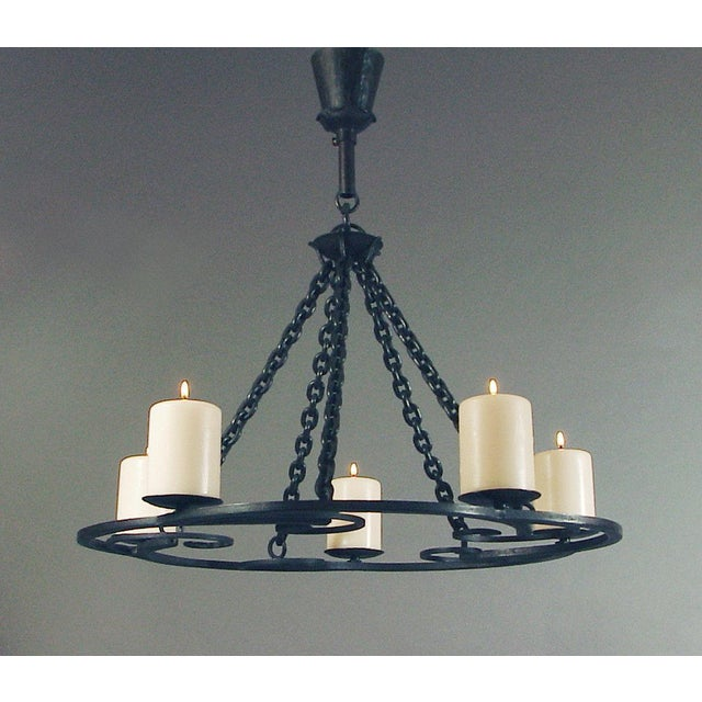 Black 1920s Wrought Iron Art Deco Chandelier With Beeswax Candles For Sale - Image 8 of 8