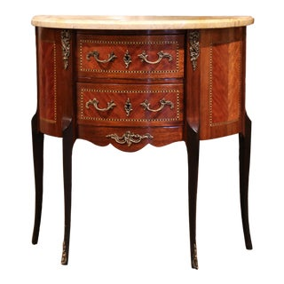 Early 20th Century French Louis XV Carved Walnut Inlay Commode With Beige Marble For Sale