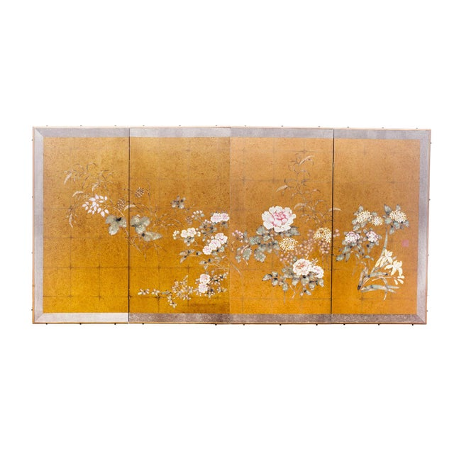 "Gold Lawrence & Scott Japanese Style ""Summer Garden"" Four-Panel Gold Foil Original Painting Hanging Screen For Sale - Image 8 of 9"