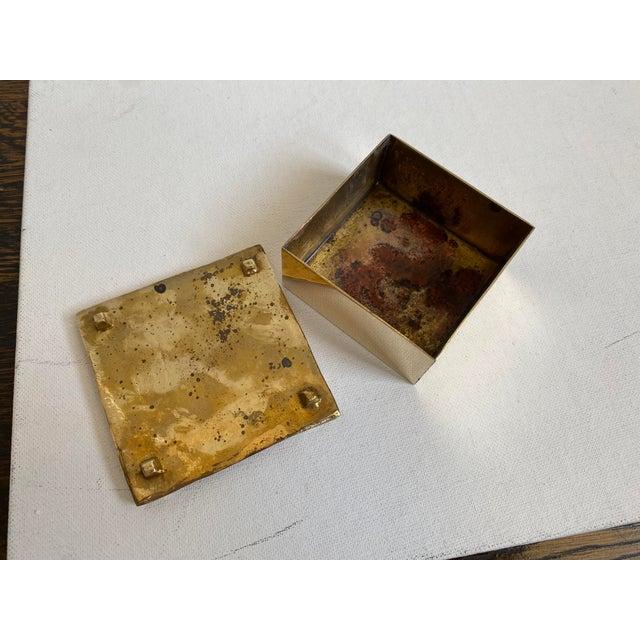 Sarreid Ltd. Mid-Century Brutalist Sarreid Brass Box For Sale - Image 4 of 6