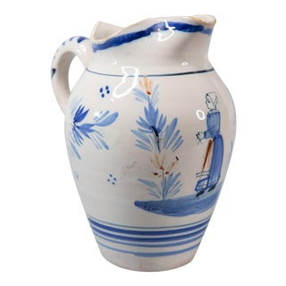 Antique French Quimper Pitcher For Sale