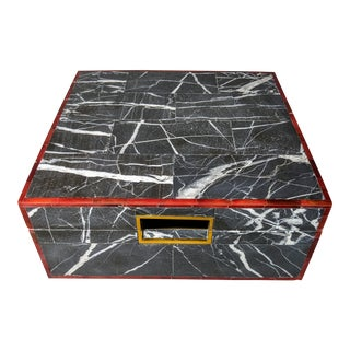 Made Goods Vallen Nero Marble Box With Red and Brass Trim For Sale