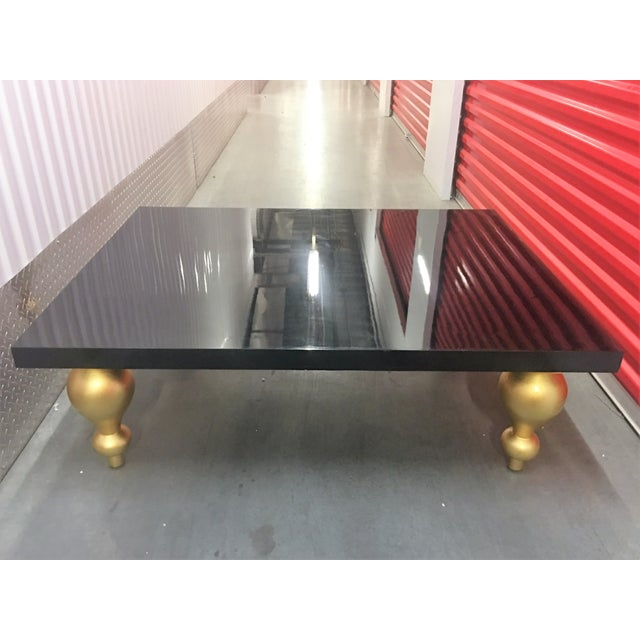 Black Lacquer Coffee Table with Gold Legs - Image 4 of 7