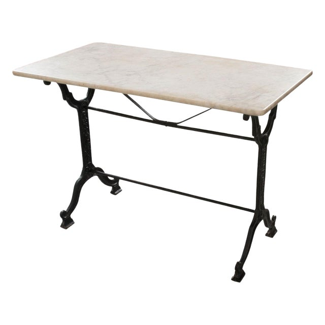 French Early 20th Century Marble Top Garden Table For Sale