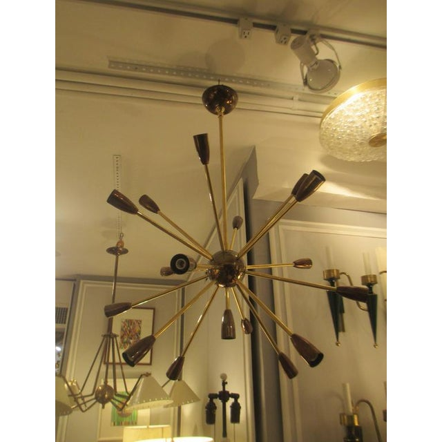 2010s Custom Brass and Copper Sputnik Chandelier with 14 Arms For Sale - Image 5 of 7