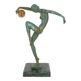 Max Le Verrier Signed Denis Sculpture with Ball For Sale