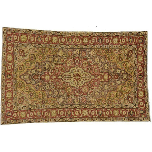 About 73927, modern rustic style vintage Turkish Oushak accent rug, entry or foyer rug. This hand-knotted wool vintage...