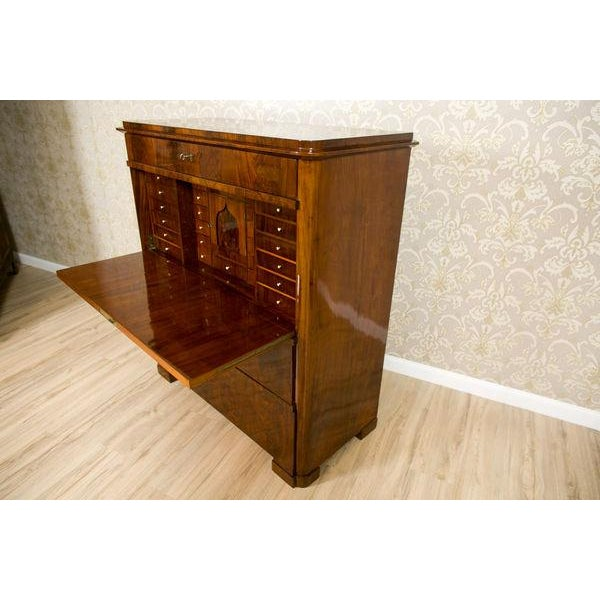 19th-Century Biedermeier Secretary Desk Veneered with Mahogany For Sale - Image 4 of 11