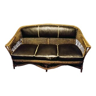 1920s Vintage Art Deco Leather Cushion Rattan Wicker Sofa For Sale