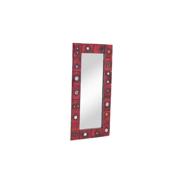 Ceramic Tile Mirror by Oswald Tieberghien in Red Glaze For Sale - Image 10 of 10