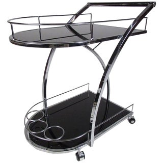 Modern Chrome Two-Tier Bar Cart For Sale