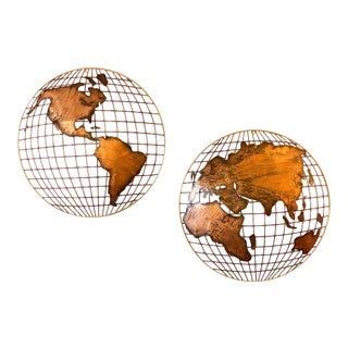 Curtis Jere Globe Wall Sculpture For Sale