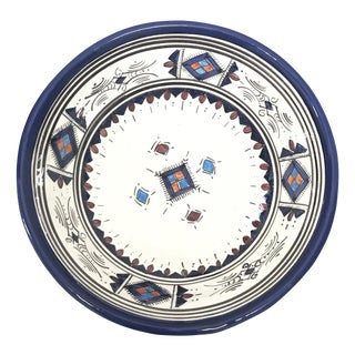 Moroccan Hand-Painted Medium Blue Ceramic Bowl For Sale