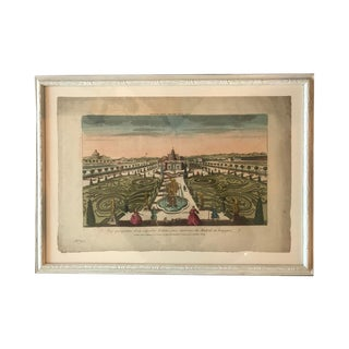 18th Century Vue D'Optique Hand-Colored Engraving For Sale