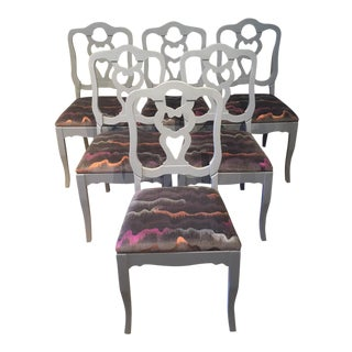 Mid-Century Modern Gray Wood Pretzel Backed Dining Chairs - Set of 6