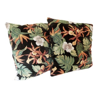 Tapestry Pillows With Orchids - a Pair