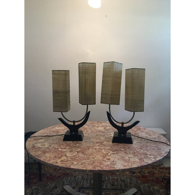 Majestic Lamp Company 1950s Space Age Lamps With Fiberglass Shades A Pair For