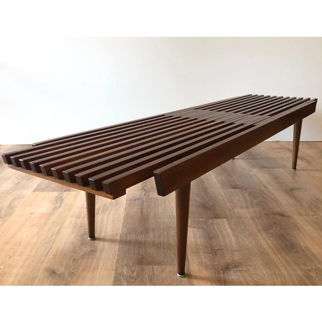 """Restored mcm expandable slat bench coffee table. Extends from 64.5"""" to 70.5"""""""