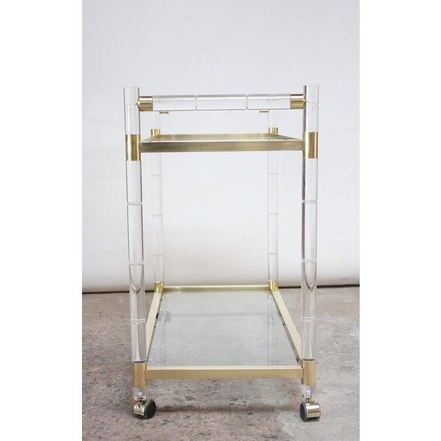 Charles Hollis Jones Lucite Faux-Bamboo and Brass Serving Cart - Image 5 of 11