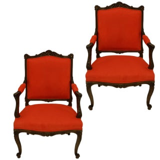 Early 19th Century French Orange Walnut Armchairs - a Pair