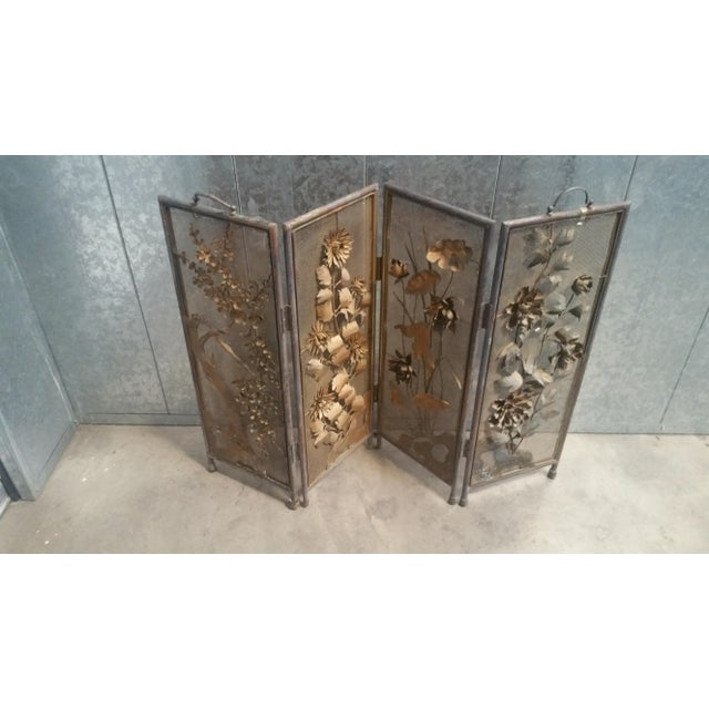 Vintage Asian Gold 4-Panel Hinged Firescreen For Sale - Image 4 of 8