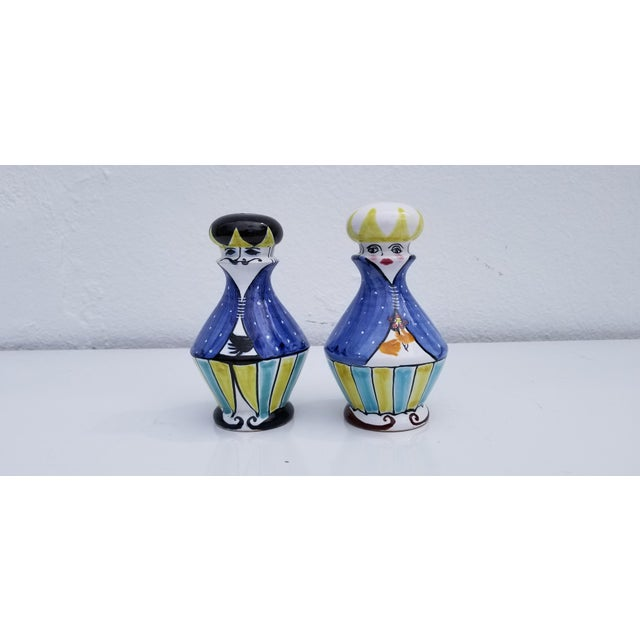 """Fantastic """" His And Hers """" vintage Italian hand-painted ceramic salt and pepper shakers. Marked on the bottom - Made In..."""