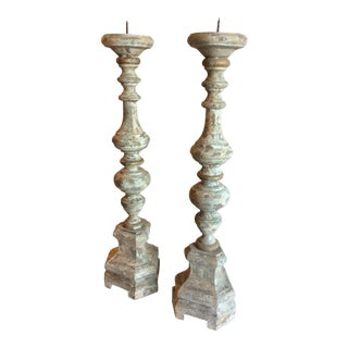 Tall Swedish Style Candlesticks - A Pair For Sale