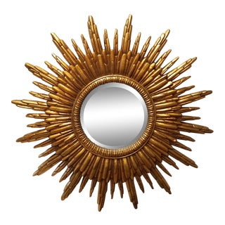 Gold Beveled Sunburst Mirror For Sale