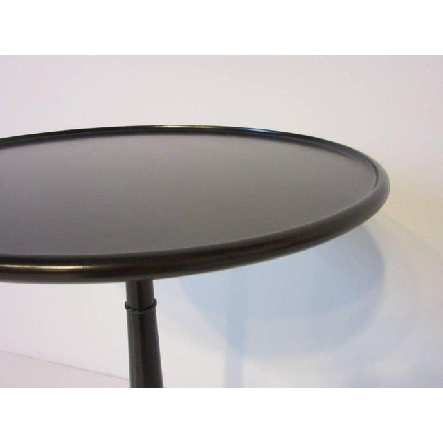 Contemporary Ebony Finished with Brass Tri Pod Based Midcentury Side Table For Sale - Image 3 of 9