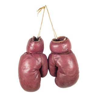Trophy Brand Leather and Horse Hair Boxing Gloves C. 1950 For Sale