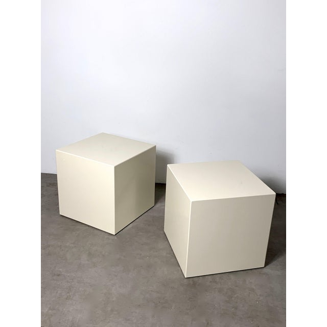1970s Modern Lacquered White Cube Side Tables- A Pair For Sale - Image 11 of 11