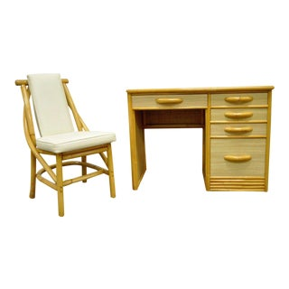 Vintage Mid Century Modern Grasscloth Rattan Bamboo Desk & Chair Willow & Reed For Sale