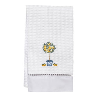 Lemon Topiary Tree Guest Towel White Waffle Weave, Ladder Lace, Embroidered For Sale