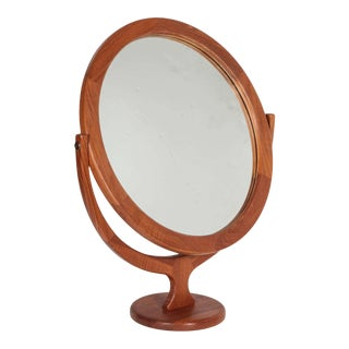 1950s Vintage Pederson & Hansen Teak Vanity Mirror For Sale
