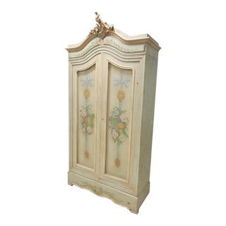 French Carved & Paint Decorated Armoire For Sale