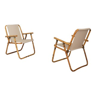 Raffaella Crespi Bamboo Folding Chairs From 1950. For Sale