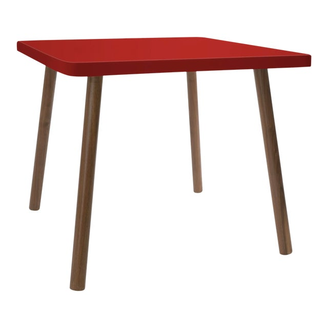 """Tippy Toe Large Square 30"""" Kids Table in Walnut With Red Finish Accent For Sale"""
