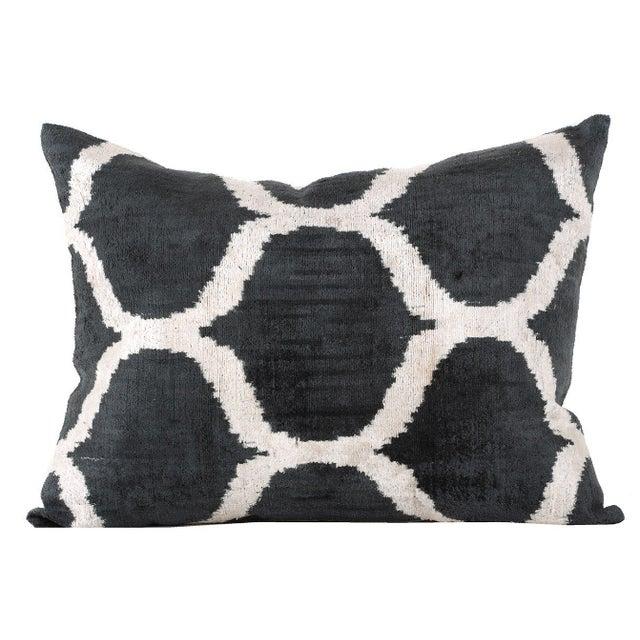 Graphite and Cream Silk Velvet Accent Pillow - Image 1 of 2