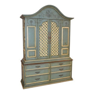 Distressed Cottage Style Painted Two Piece Armoire For Sale