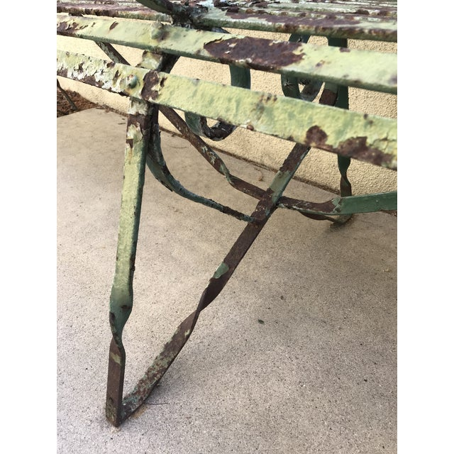 19th Century Antique French Wrought Iron Green Garden Park Restaurant Bench For Sale - Image 11 of 13