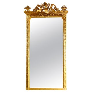 1880 Antique French Classical Baroque Style Figural Giltwood Pier Mirror For Sale