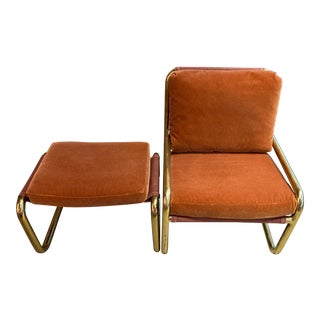 1970s Tubular Brass Cantilever Lounge Chair and Ottoman by Phd For Sale