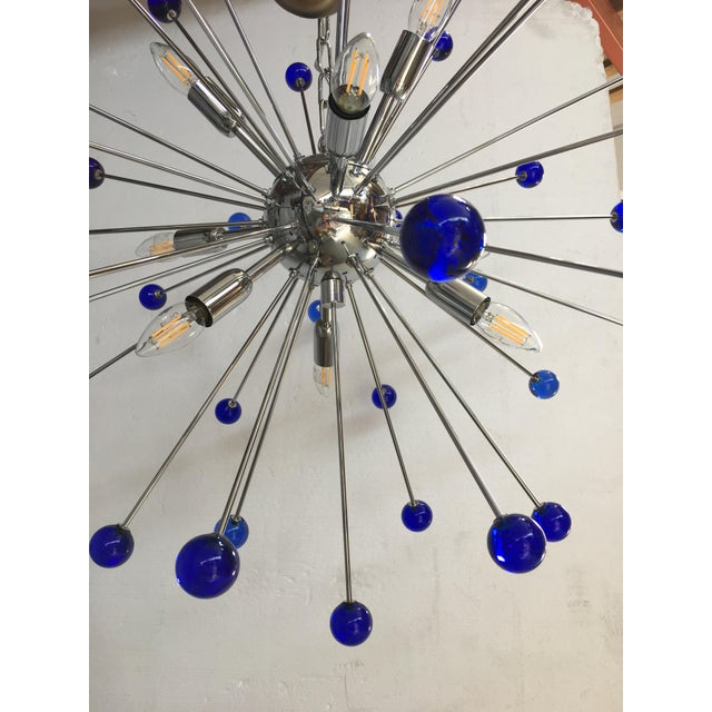 Murano Dark Blue Murano Glass Chandelier in Sputnik Style With a Chrome Frame For Sale - Image 4 of 6