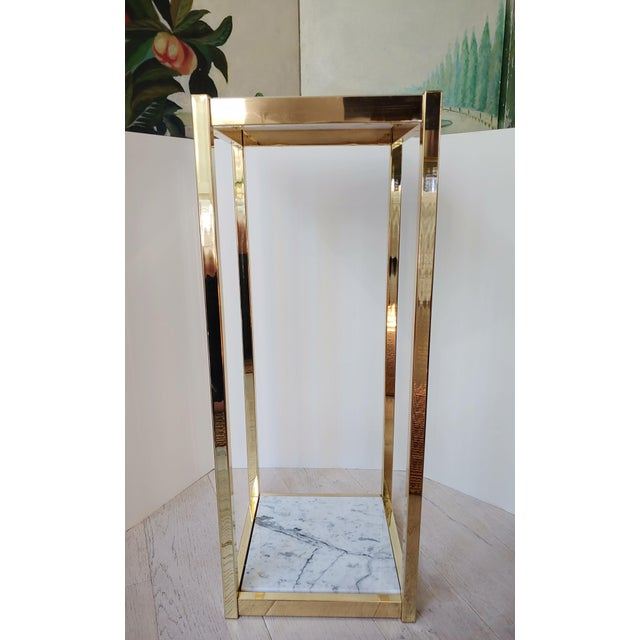 Metal 1980s Brass and White Marble Pedestal For Sale - Image 7 of 7