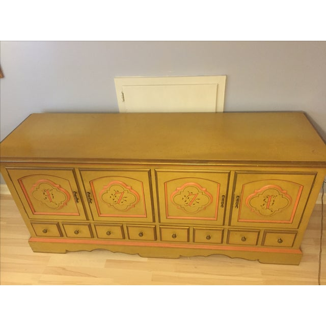 Unique Mid-Century Modern, Drexel American Review dresser is painted yellow gold and has gold and salmon trimming. Gold...