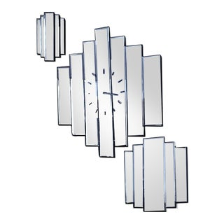 Art Deco Large Beveled 7 Stepped Hexagonal Clock Mirror & 2 Smaller 5 Stepped Mirrors - S3 For Sale