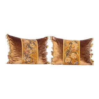 18th C French Aubusson Fragment Pillows For Sale