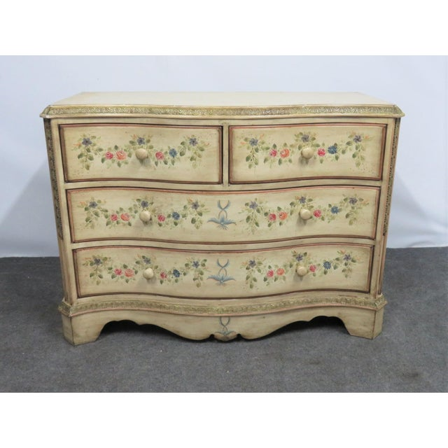 Paint French Style Paint Decorated Serpentine Front Dresser For Sale - Image 7 of 7